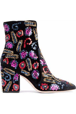 LOEFFLER RANDALL Embellished velvet ankle boots