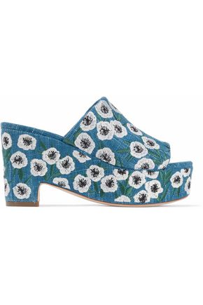 LOEFFLER RANDALL Embroidered denim platform mules