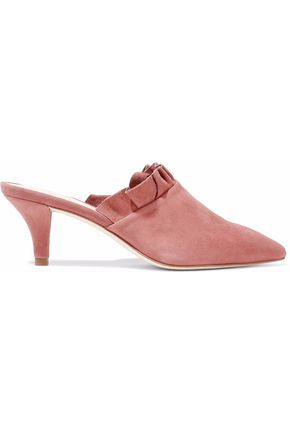 WOMAN RUFFLED SUEDE MULES ANTIQUE ROSE