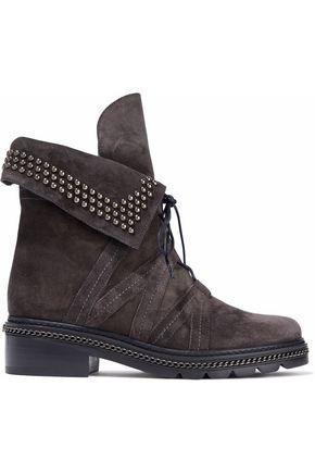 STUART WEITZMAN Yadastud embellished suede ankle boots