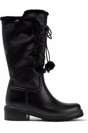 STUART WEITZMAN Faux fur-trimmed faux leather boots