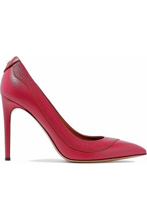 VALENTINO Stud-embellished textured-leather pumps