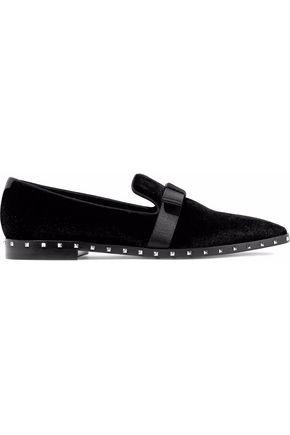 VALENTINO Bow-detailed studded velvet loafers