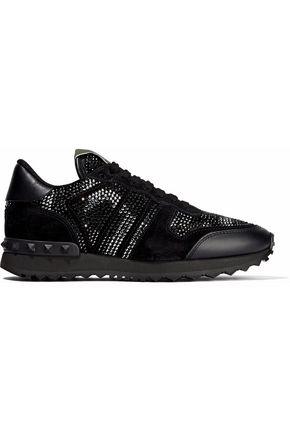 VALENTINO GARAVANI Embellished suede sneakers