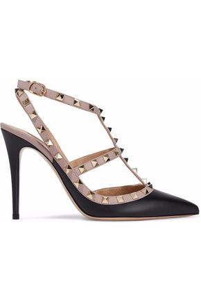 VALENTINO GARAVANI The Rockstud two-tone leather pumps