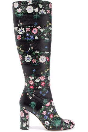 VALENTINO Paneled floral-print leather knee boots