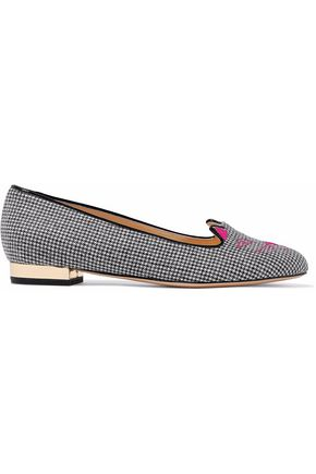 CHARLOTTE OLYMPIA Leather-trimmed embroidered houndstooth woven slippers