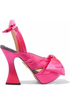 CHARLOTTE OLYMPIA Bow-embellished houndstooth-trimmed satin platform sandals