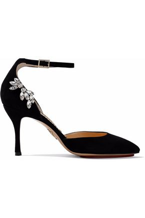 CHARLOTTE OLYMPIA Adele crystal-embellished suede pumps