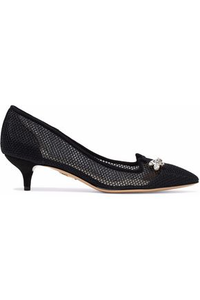 CHARLOTTE OLYMPIA Crystal-embellished mesh and suede pumps