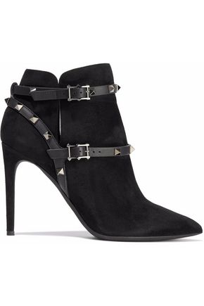 VALENTINO GARAVANI Studded leather-trimmed suede ankle boots