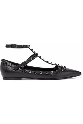 VALENTINO GARAVANI Studded pebbled-leather point-toe flats