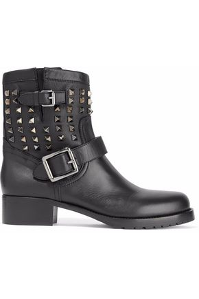 VALENTINO GARAVANI Buckled studded leather boots