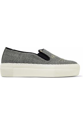 CHARLOTTE OLYMPIA Leather-trimmed embroidered houndstooth woven slip-on sneakers