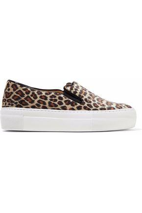 CHARLOTTE OLYMPIA Embroidered leopard-print velvet platform slip-on sneakers