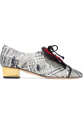 CHARLOTTE OLYMPIA Embellished suede-appliquéd metallic printed leather brogues