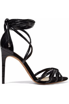 ALEXANDRE BIRMAN New Cindy suede-trimmed glossed-leather sandals