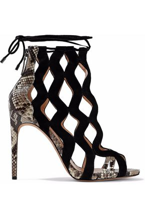 ALEXANDRE BIRMAN Loretta cutout suede and python sandals