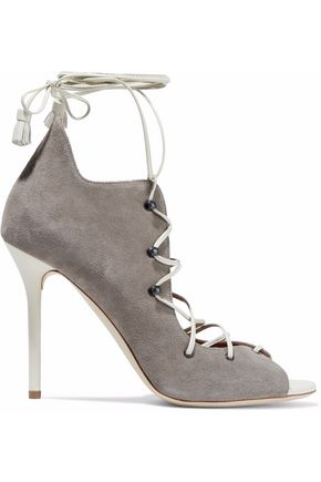 MALONE SOULIERS Leather-trimmed lace-up suede sandals
