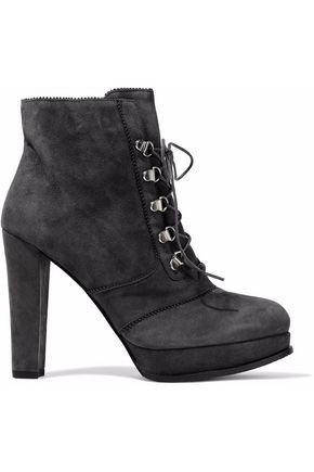 WOMAN SADDLE SUEDE PLATFORM ANKLE BOOTS ANTHRACITE