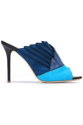 MALONE SOULIERS Leather-trimmed color-block suede mules