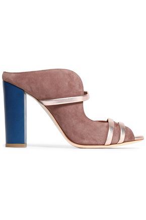 MALONE SOULIERS Metallic leather-trimmed suede mules