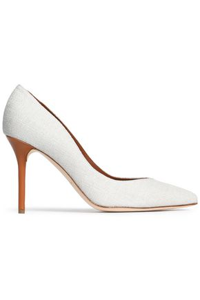 MALONE SOULIERS Leather-trimmed canvas pumps