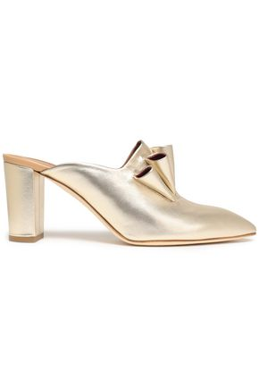 MALONE SOULIERS Ruffled metallic leather mules