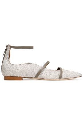 MALONE SOULIERS Smooth leather-trimmed glittered leather point-toe flats