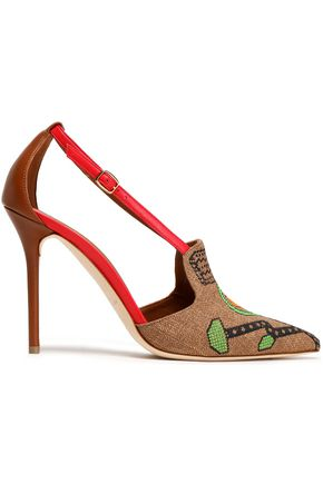 MALONE SOULIERS Leather-trimmed embroidered canvas pumps