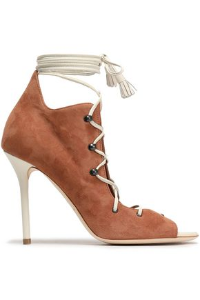 MALONE SOULIERS Lace-up leather-trimmed suede sandals