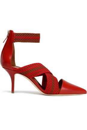 MALONE SOULIERS Leather and woven pumps