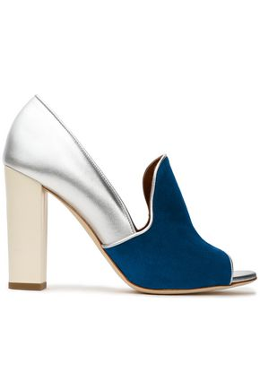 MALONE SOULIERS Color-block metallic leather and suede pumps