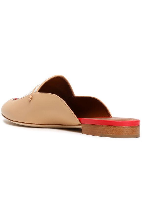 Leather and embroidered canvas slippers   MALONE SOULIERS   Sale up to 70%  off   THE OUTNET