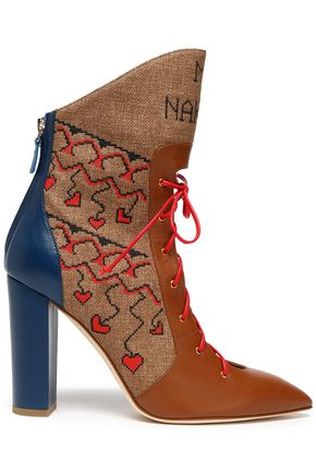 MALONE SOULIERS Lace-up leather and embroidered canvas ankle boots