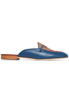 MALONE SOULIERS Leather and embroidered canvas slippers