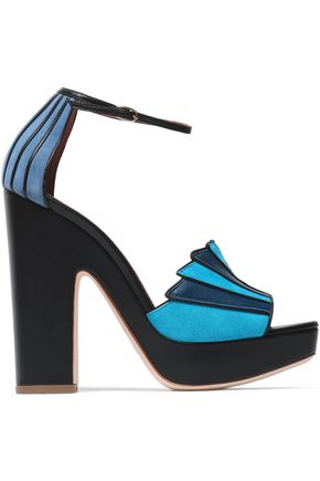 MALONE SOULIERS Leather and suede platform sandals