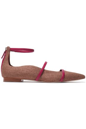 MALONE SOULIERS Leather-trimmed canvas point-toe flats