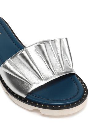 MALONE SOULIERS Ruffled metallic leather slides