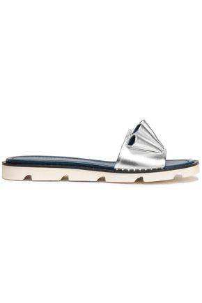 MALONE SOULIERS Ruffled metallic leather slides
