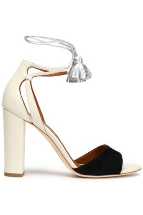 MALONE SOULIERS Tasseled metallic leather and suede sandals