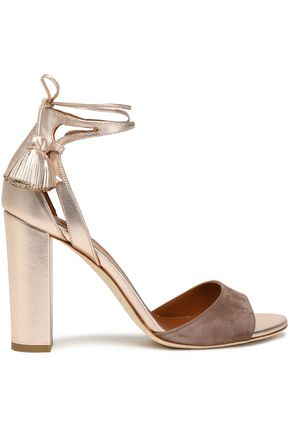 MALONE SOULIERS Cutout metallic leather and suede sandals