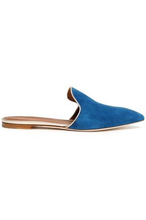 MALONE SOULIERS Metallic leather-trimmed suede slippers