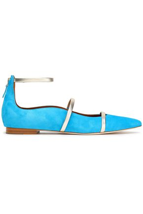 MALONE SOULIERS Metallic leather-trimmed suede point-toe flats