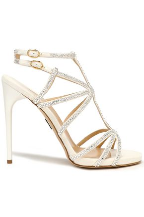 PAUL ANDREW Crystal-embellished suede sandals