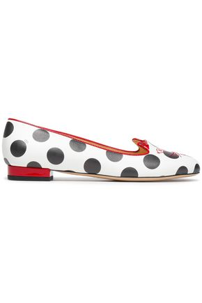 CHARLOTTE OLYMPIA Embroidered polka-dot leather slippers