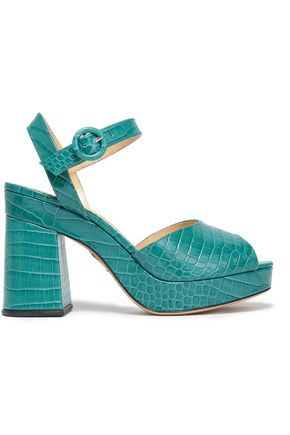 CHARLOTTE OLYMPIA Croc-effect leather platform sandals
