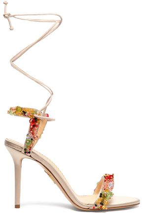 CHARLOTTE OLYMPIA Lace-up embellished satin sandals
