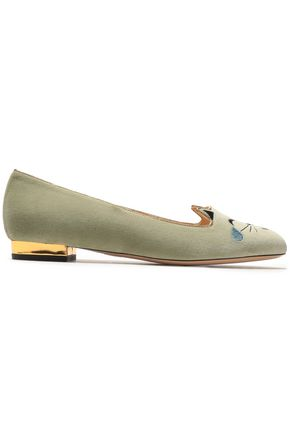 CHARLOTTE OLYMPIA Metallic leather-trimmed embroidered velvet ballet flats