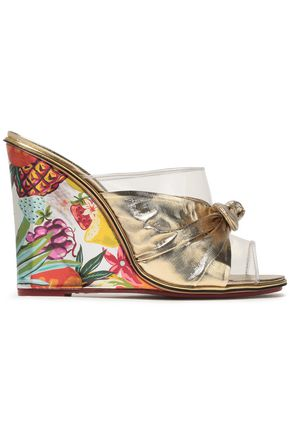 CHARLOTTE OLYMPIA Bow-embellished lamé, PVC and printed leather wedge mules